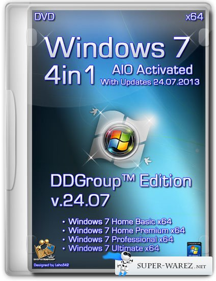 Windows 7 x64 SP1 4in1 DVD v.24.07 DDGroup™ Edition AIO Activated (RUS/2013)