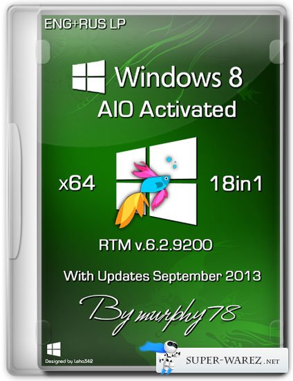 Windows 8 x64 18in1 RTM Build 9200 AIO Activated September 2013 (ENG/RUS)