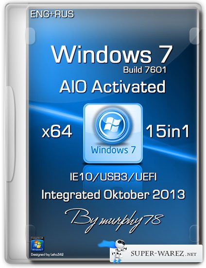 Windows 7 x64 SP1 15in1 AIO Activated Integrated Oktober 2013 (ENG/RUS)
