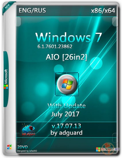 Windows 7 SP1 x86/x64 With Update 7601.23862 AIO 26in2 v.17.07.13 (RUS/ENG/2017)