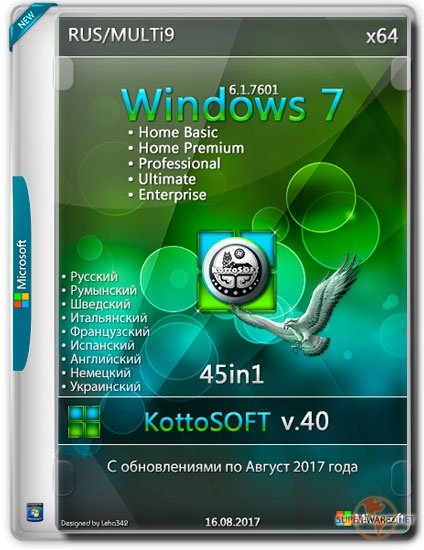 Windows 7 SP1 x64 45in1 KottoSOFT v.40 (RUS/MULTi9/2017)