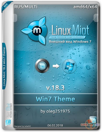 Linux Mint v.18.3 Win7 Theme by oleg251975 (RUS/MULTi/2018)