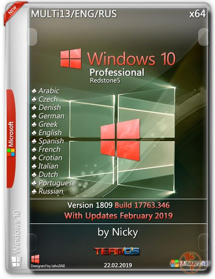 Windows 10 Pro x64 1809.17763.346 by Nicky (MULTi13/ENG/RUS/2019)